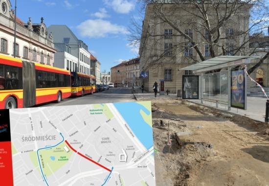 Kolejny etap przebudowy Miodowej i pl. Krasińskich. Kolejne zmiany w organizacji ruchu