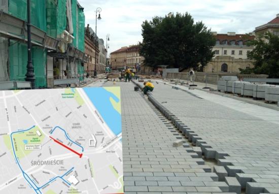 Zamknięte skrzyżowanie z Senatorską, otwarty plac Krasińskich