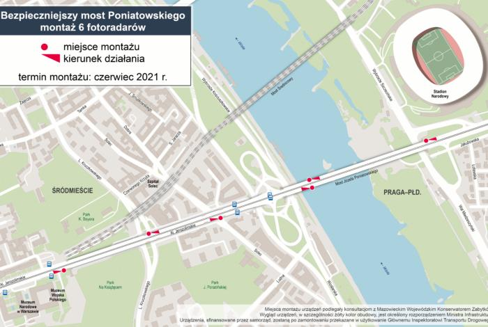 Fotoradary na moście Poniatowskiego – znamy dokładne lokalizacje
