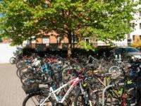 Zaparkowane rowery i hulajnogi przy stojakach