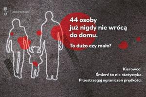 Grafika z napisem 44 osoby juz nigdy nie wrócą do domu. To dużo czy mało? Kierowco! Śmierć to nie statystyka. Przestrzegaj ograniczeń prędkości.